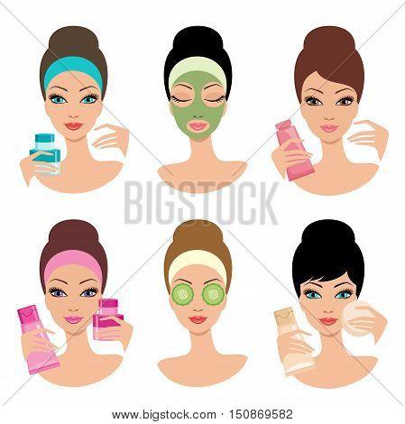 Women and cosmetics. Cosmetic procedures. Beauty salon. Vector