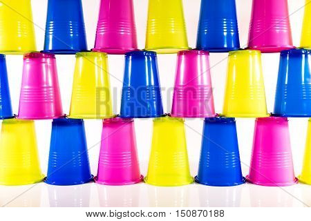 Many Colorful Plastic Cups