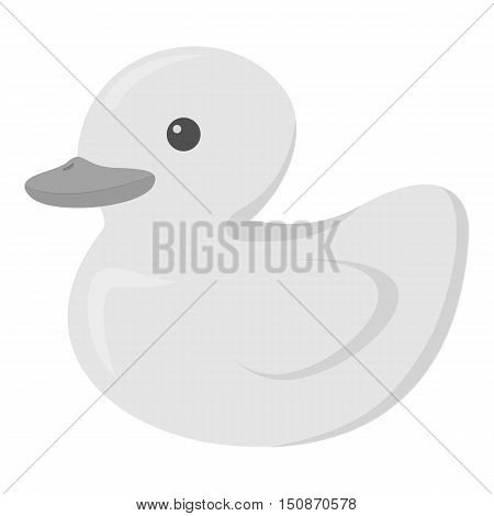 Duck icon in monochrome style isolated on white background. Animal One symbol vector illustration