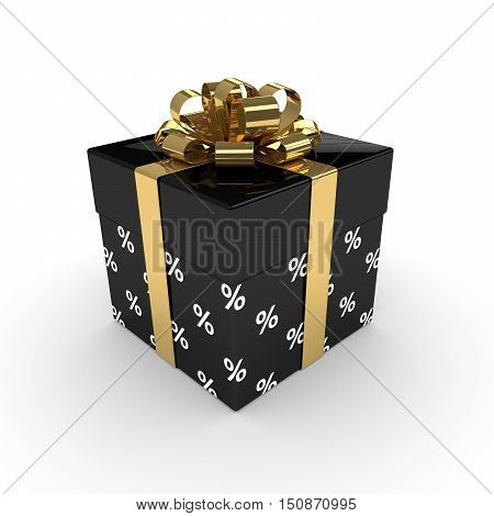 3D Rendering Of Gift Box With Golden Ribbon Isolated Over White