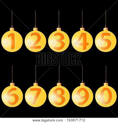 Christmas balls with numerals, font for decoration of new year holiday, vector illustration for print and website design