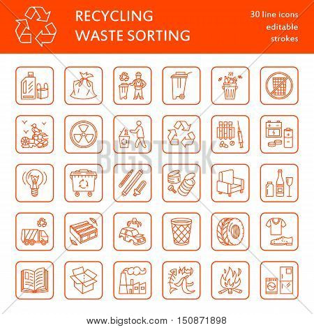 Modern vector line icon of waste sorting. Garbage collection. Trash types - paper glass plastic metal. Linear pictogram with editable stroke for brochure of recycling management