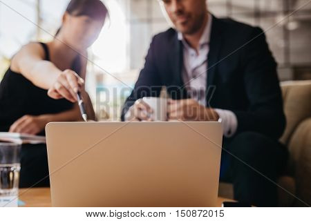Presenting Business Idea On Laptop