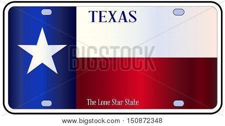 Texas License Plate with flag of state in red white and blue with Lone Star State text over a white background