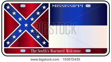 Mississippi state license plate in the colors of the state flag with the flag icons over a white background