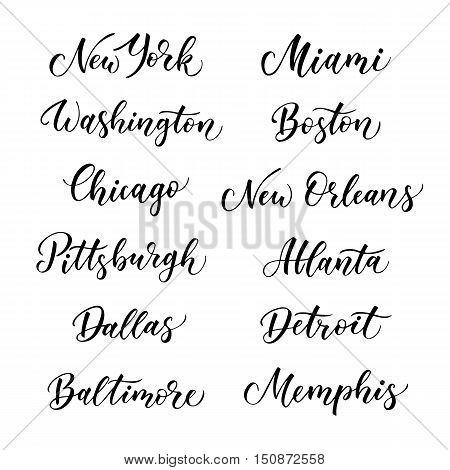 American city vector lettering. Typography USA - New York Miami Boston Dallas Washington Atlanta Chicago Detroit New Orleans Pittsburgh Memphis Baltimore on white background