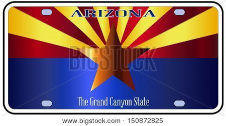 Arizona state license plate in the colors of the state flag with the flag icons over a white background