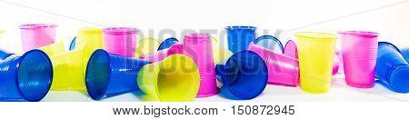Lot Of Colorful Plastic Mugs