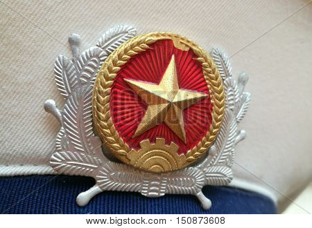Close up of Vietnam navy hat of a Vietnamese marine uniform