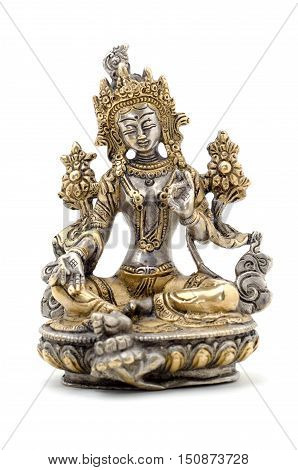 Statuette of Green Tara on a white background. Vajrayana deity quick to help and protection. Om tare tuttare ture soha.