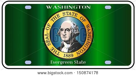 Washington state license plate in the colors of the state flag with the flag icons over a white background