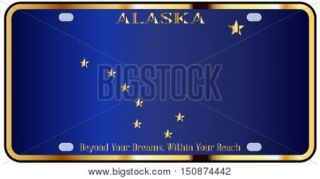 Alaska state license plate in the colors of the state flag with the flag icons over a white background