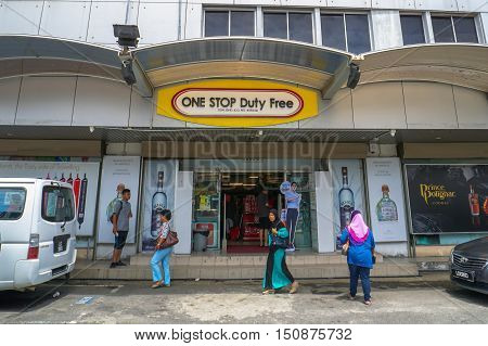 Labuan, Malaysia - Oct 9, 2016: Duty free shop in Labuan Island Malaysia. The cheap,duty free products like alcohol and cigarettes are among the main attractions of the island and will remain a duty-free island.