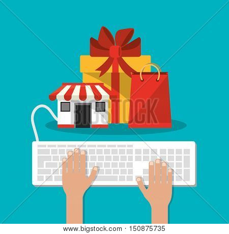 Bag gift store and keyboard icon. Shopping online ecommerce and media theme. Colorful design. Vector illustration
