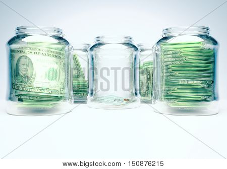 Glass flasks with money and glass flask with three banknotes with coins - wealth and poverty concept. 3D illustration