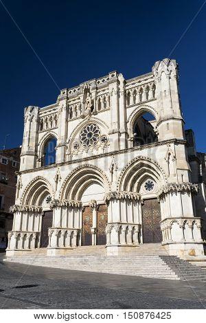 Cuenca (Castilla-La Mancha Spain) facade of the medieval cathedral in gothic style