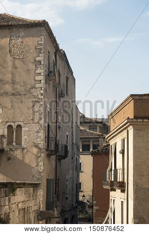 Girona (Gerona Catalunya Spain): gothic buildings near the cathedral