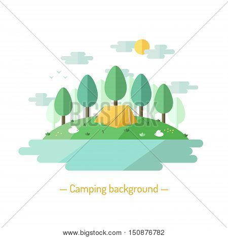 Camping vector flat style illustration with deciduous trees. Nature background with trees lake sun clouds expedition tent and bunnies.