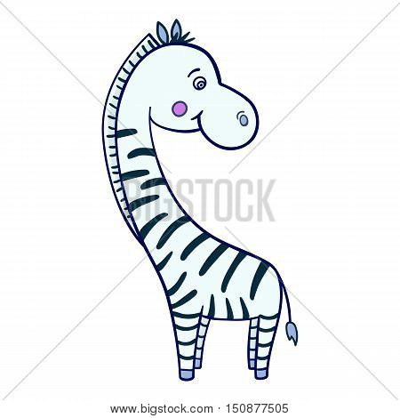 Isolated image of a cute smiling Zebra with large head and black stripes on a white background.Vector illustration of funny animals for children.