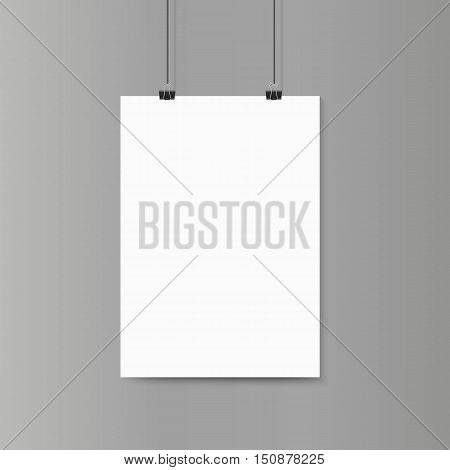 Empty vertical white paper poster mockup on grey wall with paper clip. Vector illustration.