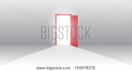 Open red door Vector EPS 10 Illustration.