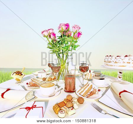 Afternoon tea and delicious dessert on the background of nature. 3D illustration