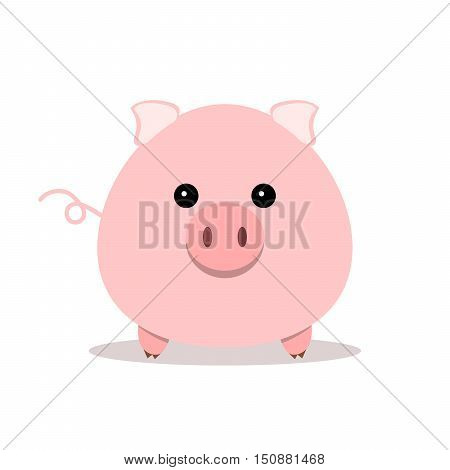 Pink pig icon. Simple abstract pig on white background. Vector illustration.