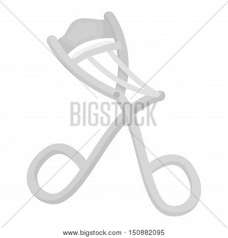 Eyelash curler icon in monochrome style isolated on white background. Hairdressery symbol vector illustration.