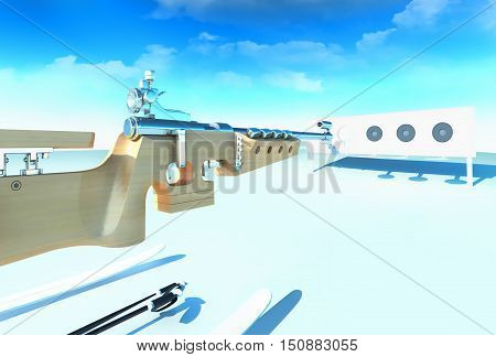 Sport background with biathlon. Biathlon Rifle, the shooting stand, skis on a winter background. 3D illustration