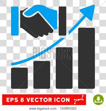 Vector Acquisition Growth EPS vector icon. Illustration style is flat iconic bicolor blue and gray symbol on a transparent background.