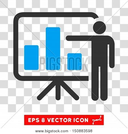 Vector Bar Chart Presentation EPS vector pictograph. Illustration style is flat iconic bicolor blue and gray symbol on a transparent background.