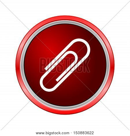 Paper clip icon, Internet button on white background
