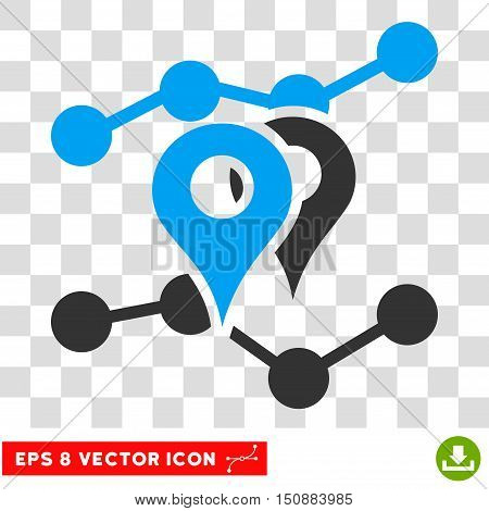 Vector Geo Trends EPS vector pictograph. Illustration style is flat iconic bicolor blue and gray symbol on a transparent background.
