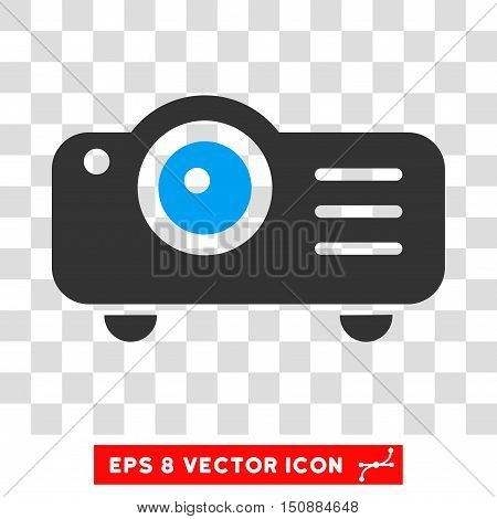 Vector Projector EPS vector icon. Illustration style is flat iconic bicolor blue and gray symbol on a transparent background.