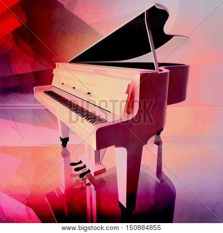 Grand piano on a pink background. 3D illustration