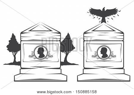 Vector isolated image of contour the grave gravestone monument depicting male profile. Headstone for print and web design funeral services. Burial and funeral . Crow, the raven.Pines tree
