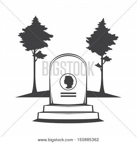 Vector isolated image of contour the grave gravestone monument depicting the profile of woman. Headstone for print and web design funeral services. Burial and funeral . Pines