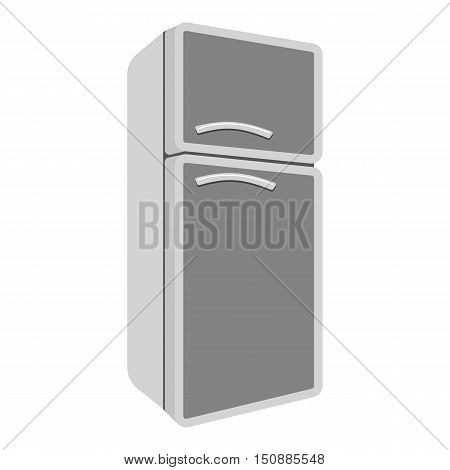Refrigerator icon in monochrome style isolated on white background. Kitchen symbol vector illustration.
