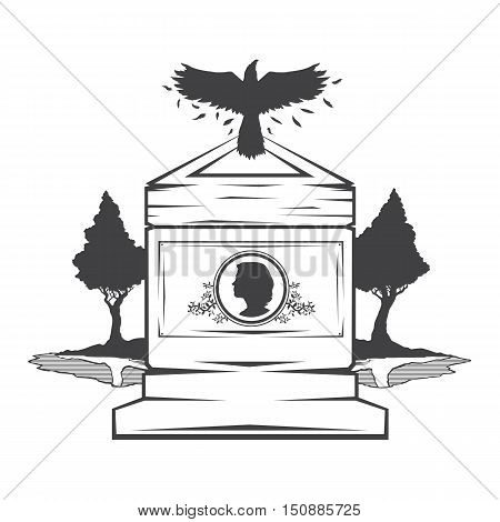 Vector isolated image of contour the grave gravestone monument depicting the profile of woman. Headstone for print and web design funeral services. Burial and funeral . Crow, the raven.Pines tree.Lake or pond