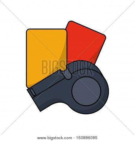 Cards and whistle icon. Soccer sport hobby competition and game theme. Isolated design. Vector illustration