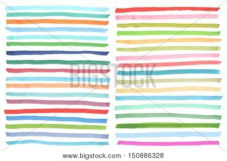 Color highlight stripes, banners, brushes drawn with japan markers. Stylish highlight elements for design. Vector highlight marker stroke brush bright color