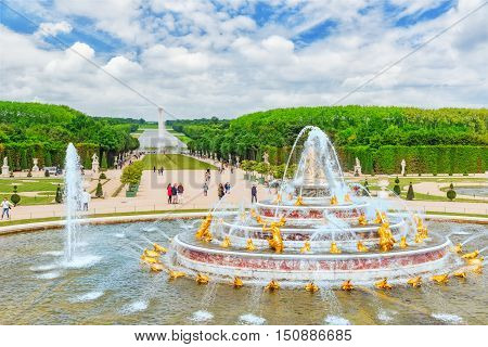 Versailles, France - July 02, 2016 :  Latona Fountain Pool, Opposite The Main Building Of The Palace