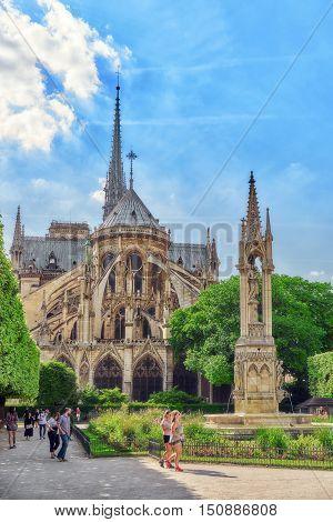 Paris, France - July 06, 2016 : Notre Dame De Paris Cathedral, Most Beautiful Cathedral In Paris. Ea