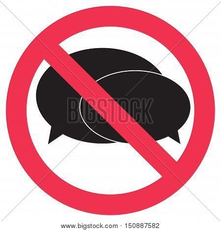 Ban speak sign. No talking and not shout. Vector illustration
