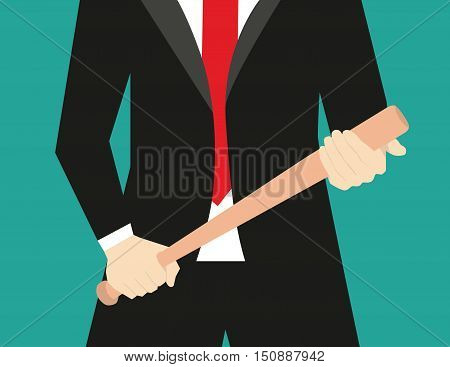 Businessman With Baseball Bat. Concept Business Illustration. Vector Flat