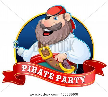 Old pirate with a hook. Vector illustration. Sticker with a red ribbon.