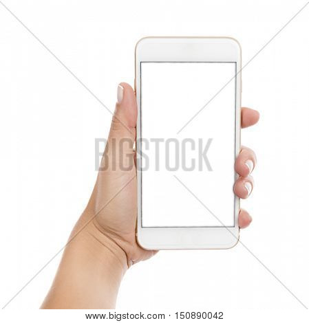 Cellular Phone on Hand Isolated