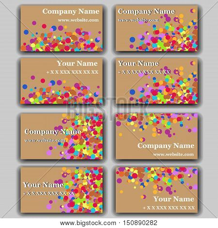 Set of Business Card with Irregular Circles. Stationery Design.