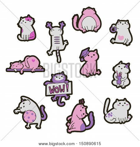 Set of Fashion patch badges with cute cats. Perfect design for stickers pins embroidery patches. Vector illustration isolated on white background.
