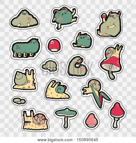 Set of Fashion patch badges with cute monsters and mushrooms. Perfect design for stickers pins embroidery patches. Vector illustration isolated on white background.